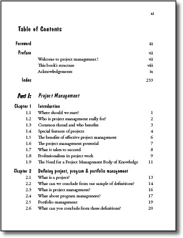 Business report table of contents template for portfolio